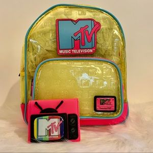 MTV Clear Neon Mini Backpack & Wallet Loungefly